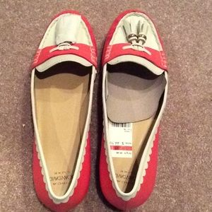 Joan & David leather flats, white, tangerine, nwt